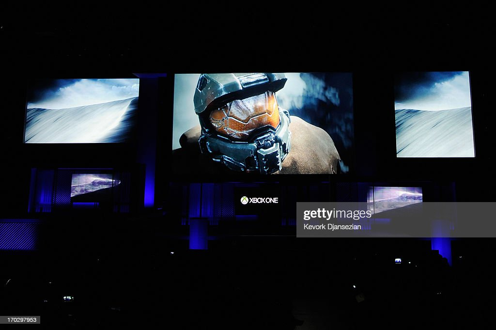 Halo Xbox video game during Microsoft Xbox news conference at the Electronic Entertainment Expo at the Galen Center on June 10, 2013 in Los Angeles, California. Thousands are expected to attend the annual three-day convention to see the latest games and announcements from the gaming industry.