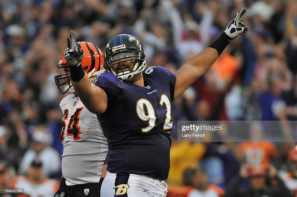 <a gi-track='captionPersonalityLinkClicked' href=/galleries/search?phrase=Haloti+Ngata&family=editorial&specificpeople=622374 ng-click='$event.stopPropagation()'>Haloti Ngata</a> #92 of the Baltimore Ravens celebrates a play against the Cincinnati Bengals at M&T Bank Stadium on November 20, 2011 in Baltimore, Maryland. The Ravens defeated the Bengals 31-24.