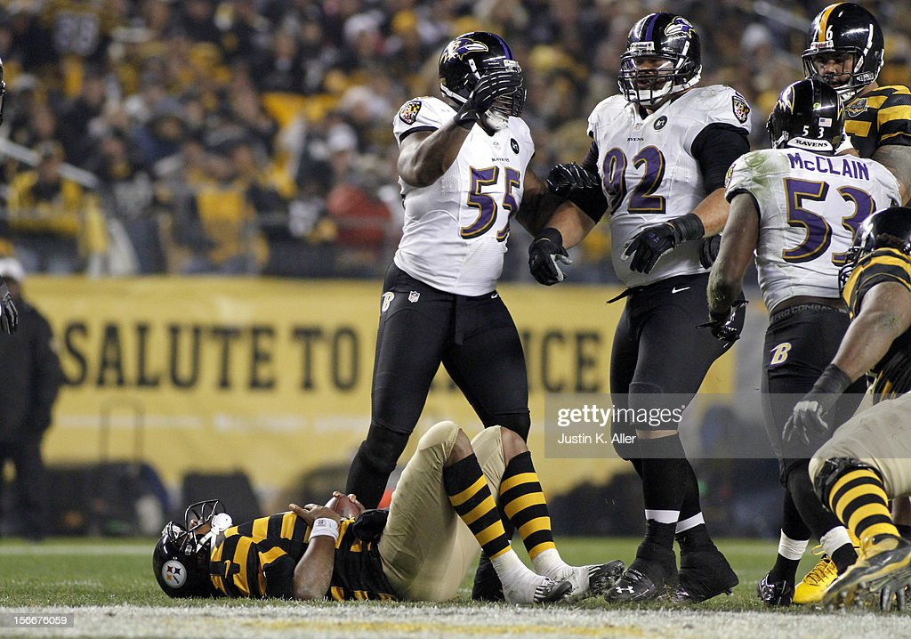 Haloti Ngata #92 of the Baltimore Ravens celebrates after sacking Byron Leftwich #4 of the Pittsburgh Steelers during the game on November 18, 2012 at Heinz Field in Pittsburgh, Pennsylvania. The Ravens defeated the Steelers 13-10.
