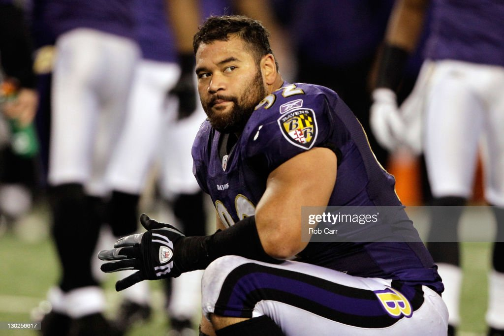 <a gi-track='captionPersonalityLinkClicked' href=/galleries/search?phrase=Haloti+Ngata&family=editorial&specificpeople=622374 ng-click='$event.stopPropagation()'>Haloti Ngata</a> #92 of the Baltimore Ravens kneels on the turf during a play review against the Houston Texans at M&T Bank Stadium on October 16, 2011 in Baltimore, Maryland. The Ravens won 29-14.
