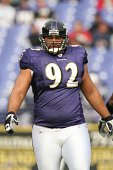 Haloti Ngata of the Baltimore Ravens participates in warmups before a game against the Atlanta Falcons on November 19 2006 at the MT Bank Stadium in...