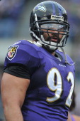 Haloti Ngata of the Baltimore Ravens pauses during a timeout against the Cincinnati Bengals at MT Bank Stadium on November 20 2011 in Baltimore...