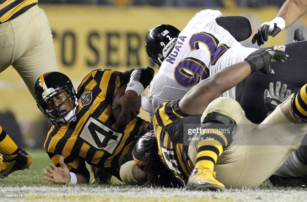 Haloti Ngata #92 of the Baltimore Ravens sacks Byron Leftwich #4 of the Pittsburgh Steelers during the game on November 18, 2012 at Heinz Field in Pittsburgh, Pennsylvania. The Ravens defeated the Steelers 13-10.