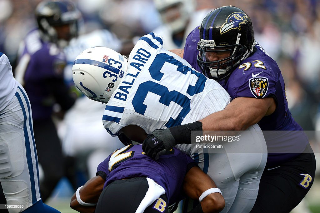 Haloti Ngata #92 of the Baltimore Ravens tackles Vick Ballard #33 of the Indianapolis Colts during the AFC Wild Card Playoff Game at M&T Bank Stadium on January 6, 2013 in Baltimore, Maryland.