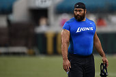 Haloti Ngata of the Detroit Lions participates in warmups prior to a preseason game against the Jacksonville Jaguars at EverBank Field on August 28...