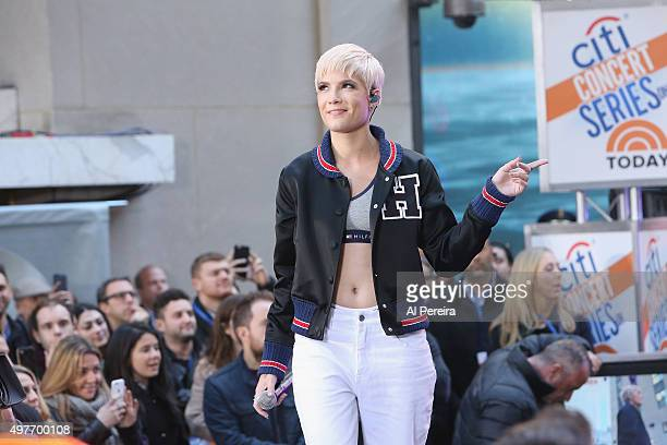 Halsey performs on NBC's 'Today' Show at the Rockefeller Plaza on November 18 2015 in New York New York
