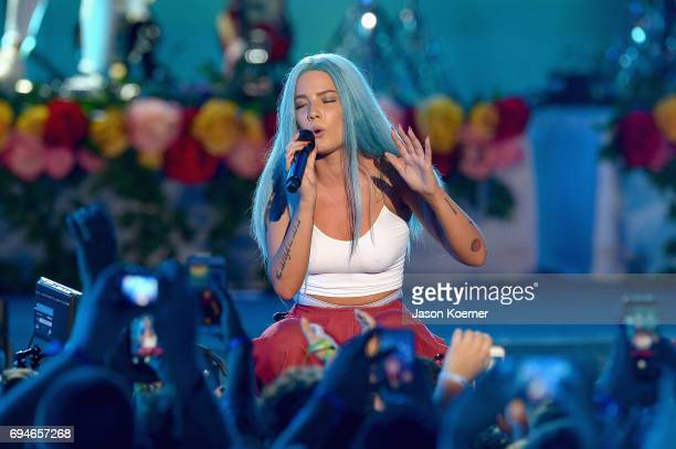 Halsey performs on stage during iHeartSummer '17 Weekend hosted by ATT at Fontainebleau Miami Beach on June 10 2017 in Miami Beach Florida