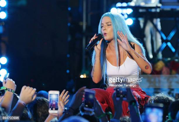 Halsey performs on stage during the iHeartSummer '17 Weekend by ATT at Fontainebleau Miami Beach on June 10 2017 in Miami Beach Florida