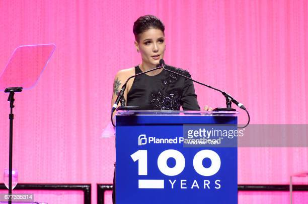 Halsey speaks onstage at the Planned Parenthood 100th Anniversary Gala at Pier 36 on May 2 2017 in New York City