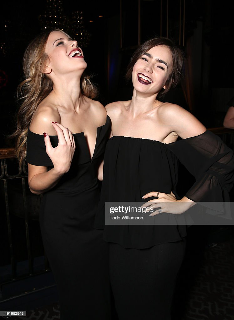Halston Sage and Lily Collins attend CAA's Young Hollywood Party Benefiting Communities In Schools Of Los Angeles at Greystone Manor Supperclub on...