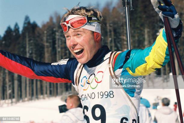 Halvard Hanevold of Norway celebrates winning the gold medal in the Biathlon Men's Individual during day four of the Nagano Winter Olympic Games at...