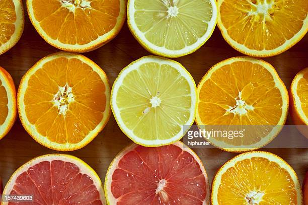 Halve citrus fruits on cuttting board