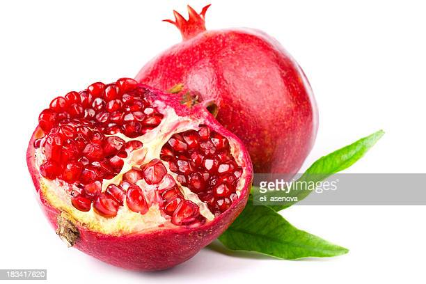 Halved pomegranate with interior view of seeds