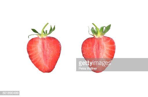 Halved Strawberry -Fragaria-