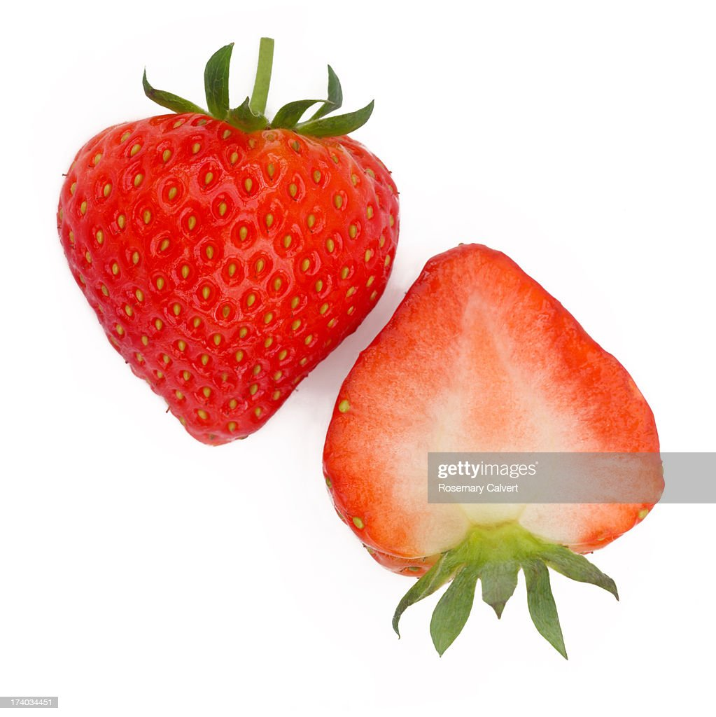 Halves of fresh, ripe strawberry side by side