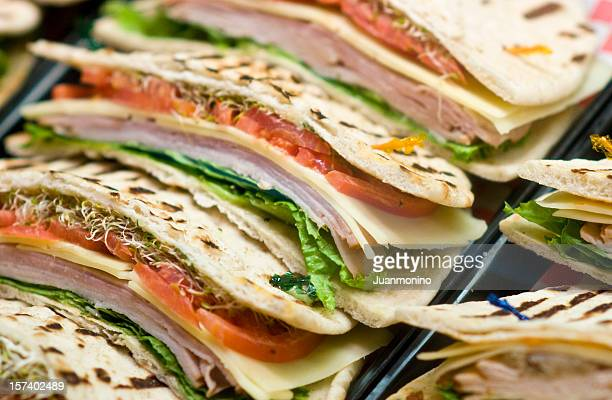 Ham and cheese flat bread sandwiches