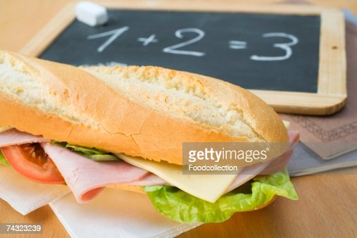 A ham and cheese sandwich for school : Stock Photo