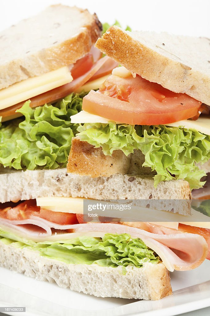 Ham and cheese sandwiches : Bildbanksbilder