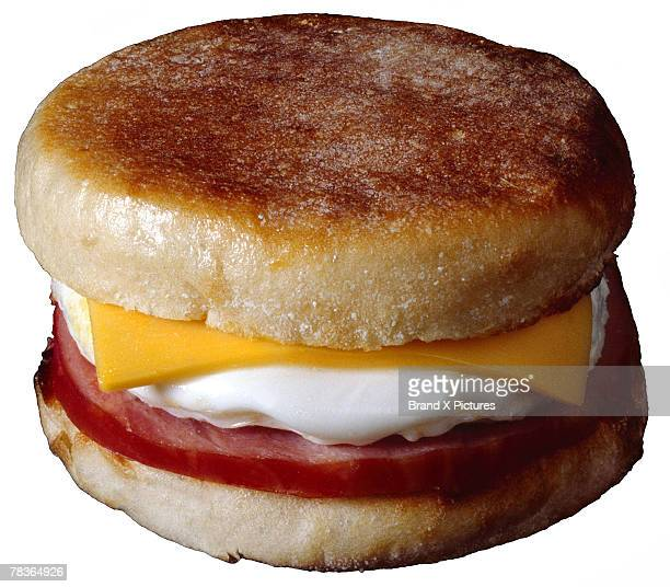 Ham, egg, and cheese on English muffin