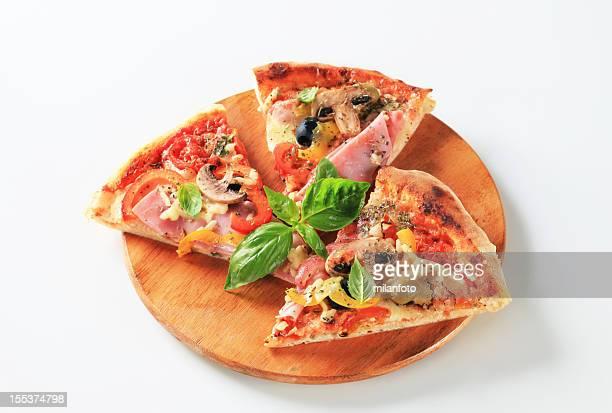 Ham pizza with mushrooms