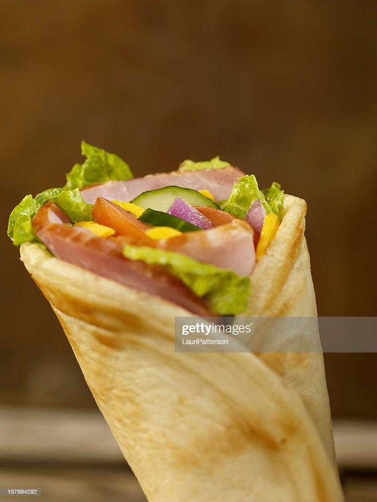 Ham Sandwich Wrap : Stock Photo