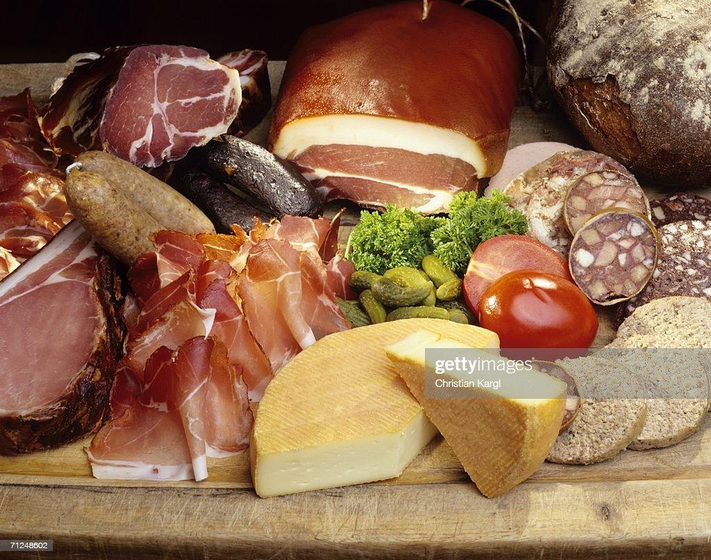 Ham, sausage and cheese, close-up
