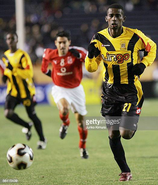 Hamad Al Montashari of Al Ittihad chases the ball during the FIFA Club World Championship Toyota Cup Japan 2005 the firstround game between Saudi...