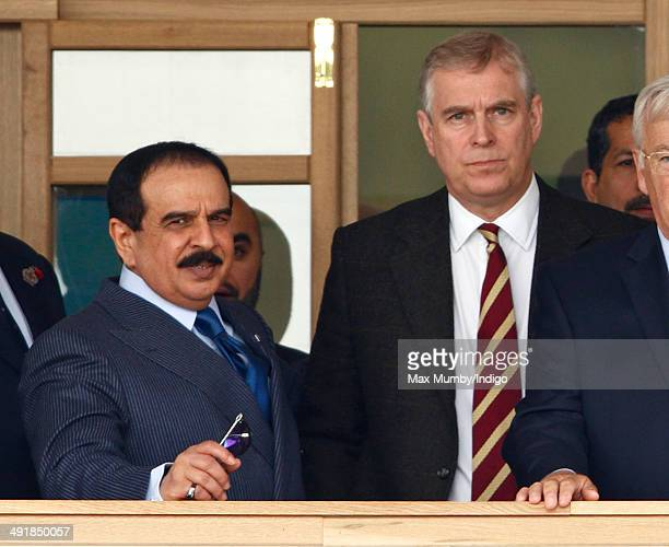 Hamad bin Isa AlKhalifa King of Bahrain talks with Prince Andrew Duke of York as they attend day 4 of the Royal Windsor Horse Show at Home Park on...
