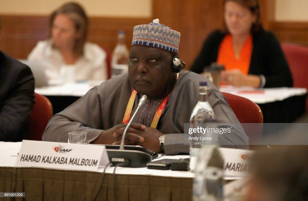 Hamad Kalkaba Malboum, Vice President of the IAAF, listens during the 211th IAAF Council Meeting on August 13, 2017 in London, England.
