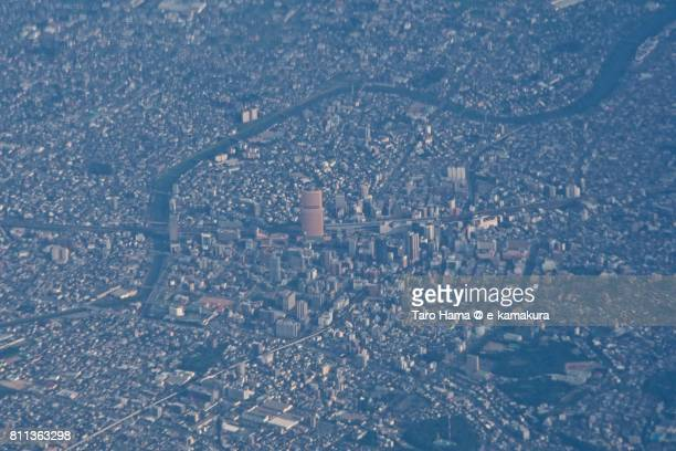 JR Hamamatsu station and center of Hamamatsu city in Shizuoka prefecture daytime aerial view from airplane
