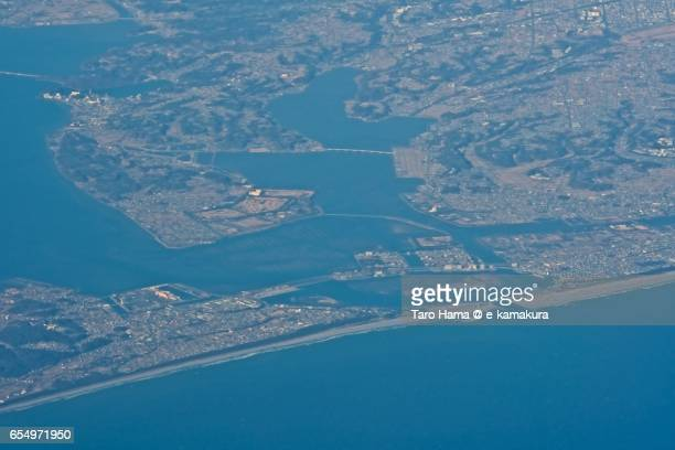 Hamana Lake, daytime aerial view from airplane