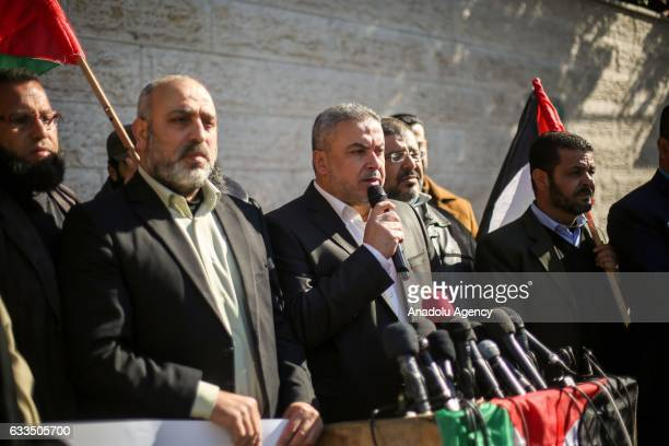 Hamas official Ismail Radwan speaks during a protest against Israeli violations directed at prisoners held in Israeli jails in front of the...