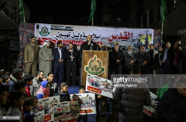 Hamas official Mohammed Abu Asker delivers a speech during the protest against the plan of Jerusalem's recognition at the Jabaliya Refugee Camp in...