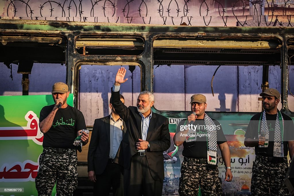 Hamas Political Bureau Vice President Ismail Haniyeh (C) greets during a festival in Gaza City, Gaza on April 28, 2016.