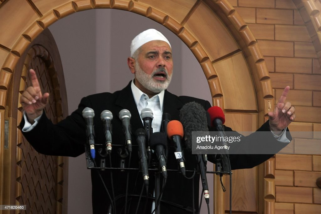 Hamas Political Bureau Vice President Ismail Haniyeh preaches a sermon at Taiba Mosque in Rafah city of Gaza on May 01, 2015.