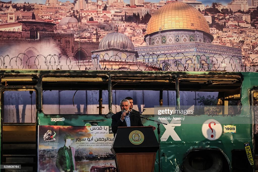 Hamas Political Bureau Vice President Ismail Haniyeh speaks during a festival in Gaza City, Gaza on April 28, 2016.