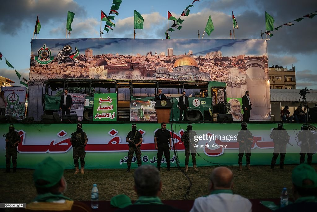 Hamas Political Bureau Vice President Ismail Haniyeh (C) speaks during a festival in Gaza City, Gaza on April 28, 2016.