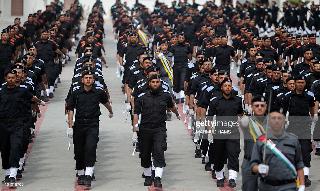 Hamas security forces march during their graduation ceremony in Gaza City on March 19, 2013.