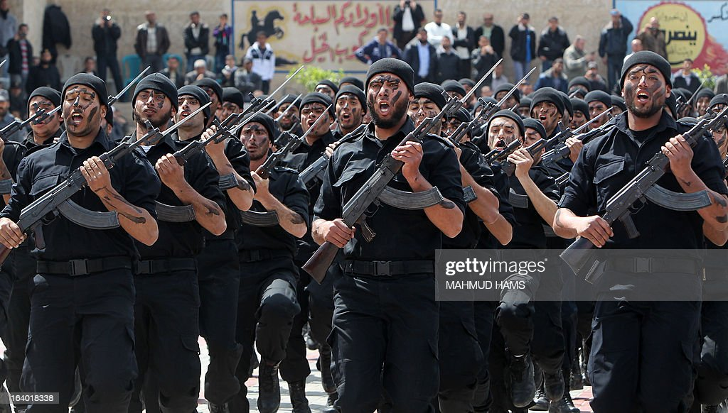 Hamas security forces take part in their graduation ceremony in Gaza City on March 19, 2013.
