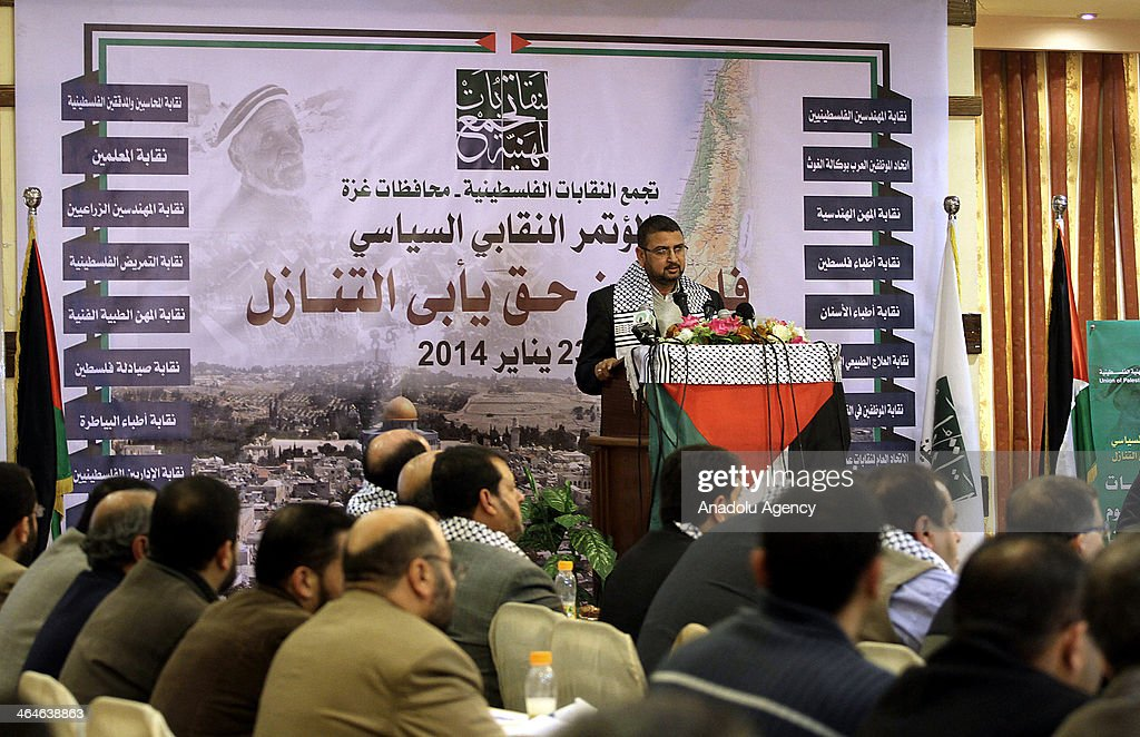 Hamas spokesman Sami Abu Zuhri speaks to the media when Palestinian members of unions and political parties attend a conference discussed the peace talks with Israel in Gaza City, Gaza Strip on January 23, 2014.