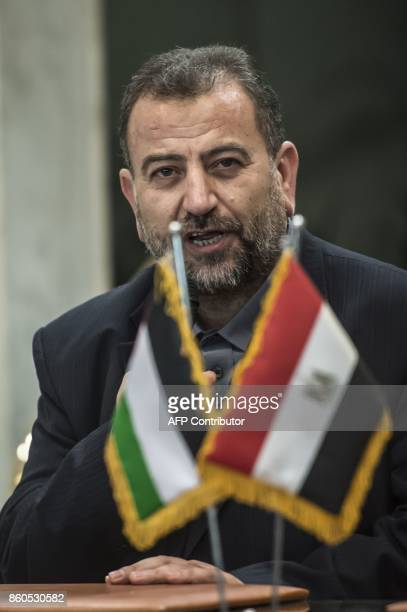 Hamas's new deputy leader Salah alAruri is pictured during the signing of a reconciliation deal between the Islamic Resistence Movement and Fatah in...