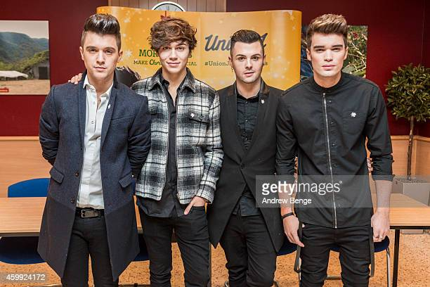 Hamblett George Shelley Jaymi Hensley and Josh Cuthbert of Union J sign copies of their single 'You Got It All' at Morrisons on December 4 2014 in...