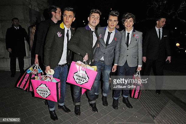 Hamblett Jaymi Hensley Josh Cuthbert and George Shelley of Union J are seen at the Cosmopolitan Ultimate Woman of the Year awards at Victoria Albert...