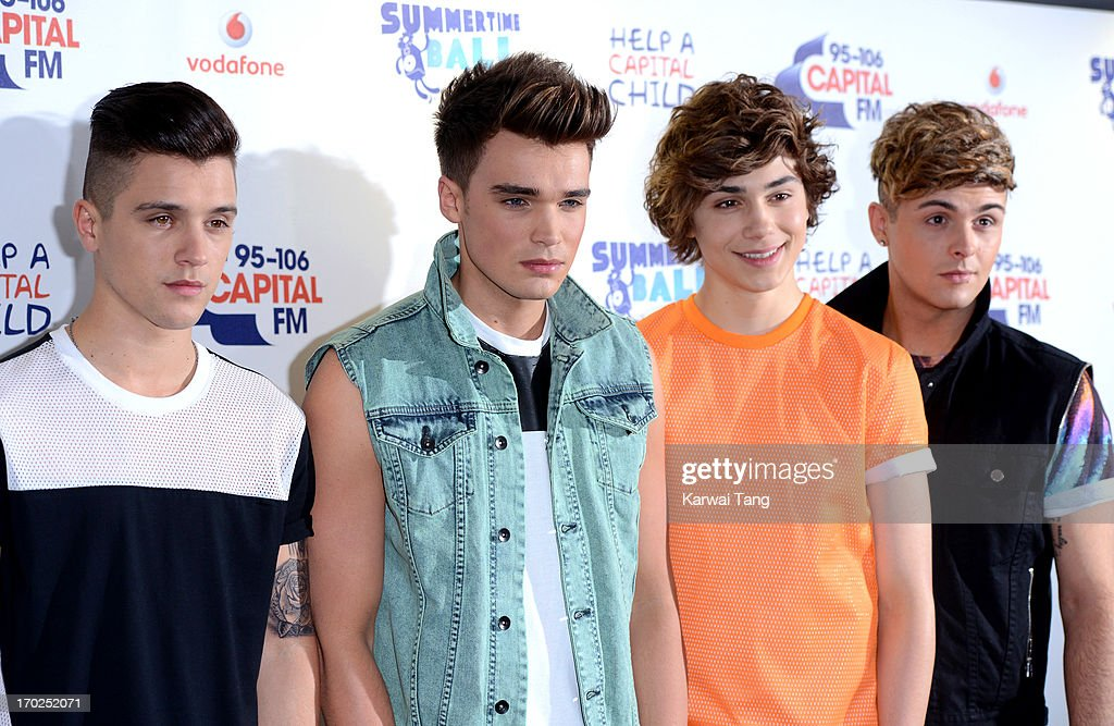 JJ Hamblett, Josh Cuthbert, George Shelley and Jaymi Hensley from boyband Union J pose in the Media Room at the Capital Summertime Ball at Wembley Arena on June 9, 2013 in London, England.