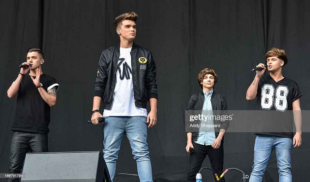 JJ Hamblett, Josh Cuthbert, George Shelley and Jaymi Hensley of the band Union J perform on stage at Allstarz Summer Party 2013 at Madejski Stadium on June 1, 2013 in Reading, England.