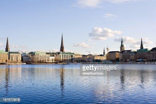 Hamburg Alster Lake Town hall