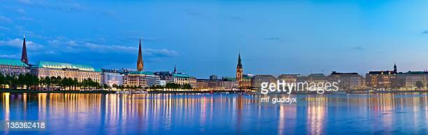 Hamburg Alster Lake with town hall