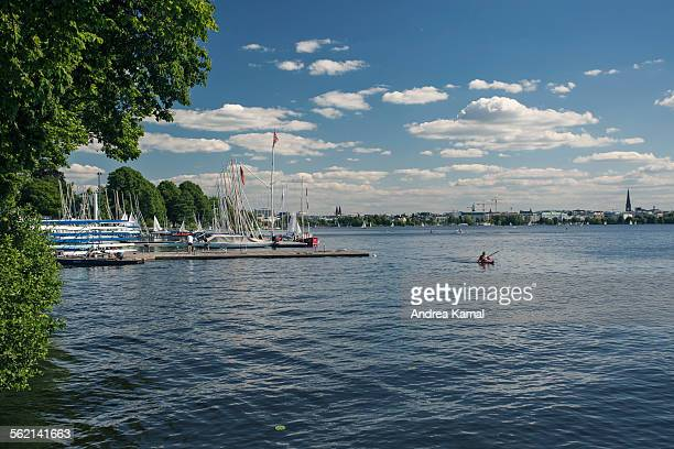 Hamburg Aussenalster on sunny day in June