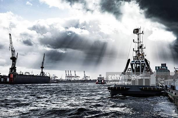 Hamburg city commercial dock