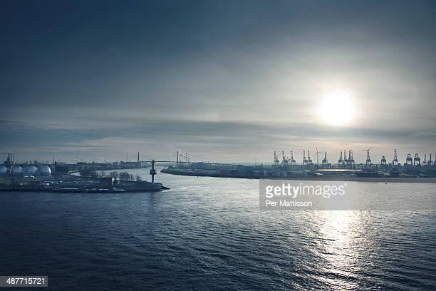Hamburg harbor at sunset